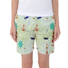 Vintage Seamless Nautical Wallpaper Pattern Women s Basketball Shorts
