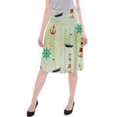 Vintage Seamless Nautical Wallpaper Pattern Midi Beach Skirt