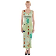 Vintage Seamless Nautical Wallpaper Pattern Fitted Maxi Dress