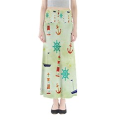 Vintage Seamless Nautical Wallpaper Pattern Maxi Skirts