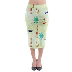 Vintage Seamless Nautical Wallpaper Pattern Midi Pencil Skirt