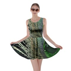 Feather Peacock Drops Green Skater Dress