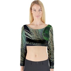 Feather Peacock Drops Green Long Sleeve Crop Top