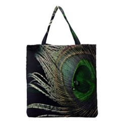 Feather Peacock Drops Green Grocery Tote Bag