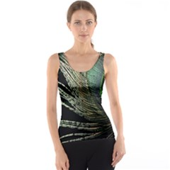 Feather Peacock Drops Green Tank Top