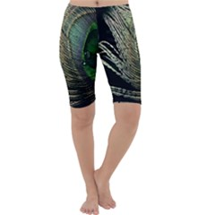 Feather Peacock Drops Green Cropped Leggings