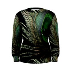 Feather Peacock Drops Green Women s Sweatshirt