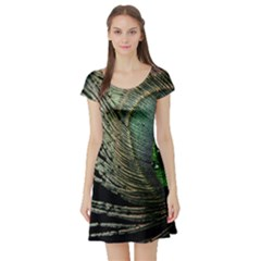 Feather Peacock Drops Green Short Sleeve Skater Dress