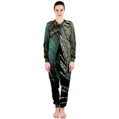 Feather Peacock Drops Green OnePiece Jumpsuit (Ladies)