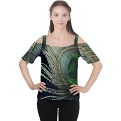 Feather Peacock Drops Green Women s Cutout Shoulder Tee
