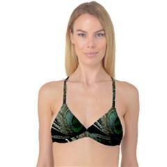 Feather Peacock Drops Green Reversible Tri Bikini Top