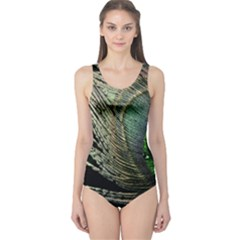 Feather Peacock Drops Green One Piece Swimsuit