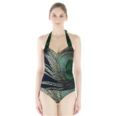 Feather Peacock Drops Green Halter Swimsuit