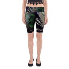 Feather Peacock Drops Green Yoga Cropped Leggings