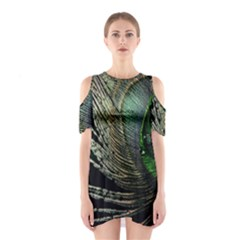 Feather Peacock Drops Green Shoulder Cutout One Piece