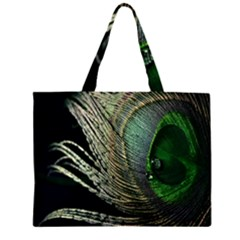 Feather Peacock Drops Green Large Tote Bag