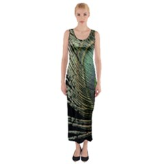 Feather Peacock Drops Green Fitted Maxi Dress
