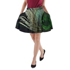 Feather Peacock Drops Green A Line Pocket Skirt