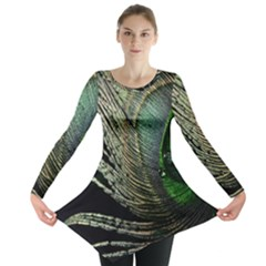 Feather Peacock Drops Green Long Sleeve Tunic