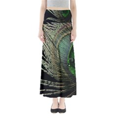 Feather Peacock Drops Green Maxi Skirts