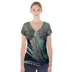 Feather Peacock Drops Green Short Sleeve Front Detail Top