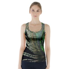 Feather Peacock Drops Green Racer Back Sports Top