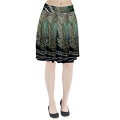 Feather Peacock Drops Green Pleated Skirt