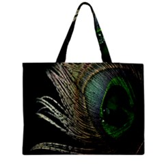 Feather Peacock Drops Green Medium Zipper Tote Bag