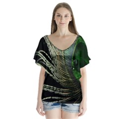 Feather Peacock Drops Green Flutter Sleeve Top