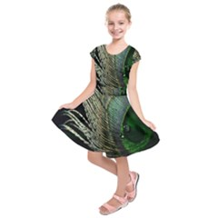 Feather Peacock Drops Green Kids  Short Sleeve Dress