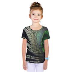 Feather Peacock Drops Green Kids  One Piece Tee