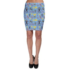 Cute Monkeys Seamless Pattern Bodycon Skirt