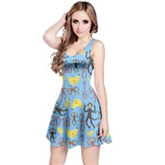 Cute Monkeys Seamless Pattern Reversible Sleeveless Dress