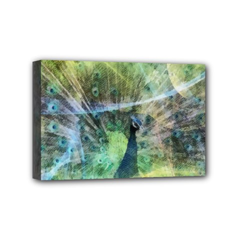 Digitally Painted Abstract Style Watercolour Painting Of A Peacock Mini Canvas 6  x 4