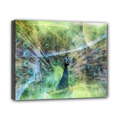 Digitally Painted Abstract Style Watercolour Painting Of A Peacock Canvas 10  X 8