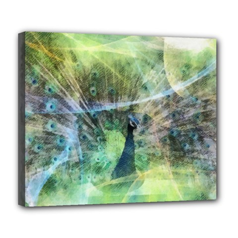 Digitally Painted Abstract Style Watercolour Painting Of A Peacock Deluxe Canvas 24  X 20