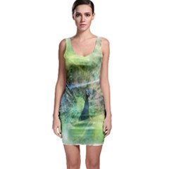 Digitally Painted Abstract Style Watercolour Painting Of A Peacock Sleeveless Bodycon Dress