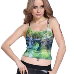 Digitally Painted Abstract Style Watercolour Painting Of A Peacock Spaghetti Strap Bra Top