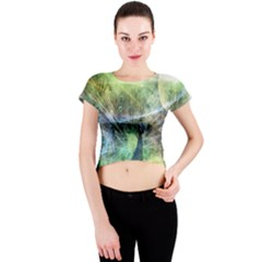 Digitally Painted Abstract Style Watercolour Painting Of A Peacock Crew Neck Crop Top
