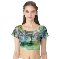 Digitally Painted Abstract Style Watercolour Painting Of A Peacock Short Sleeve Crop Top (Tight Fit)
