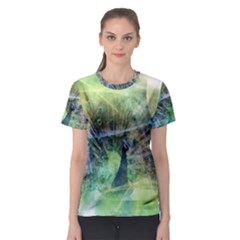 Digitally Painted Abstract Style Watercolour Painting Of A Peacock Women s Sport Mesh Tee