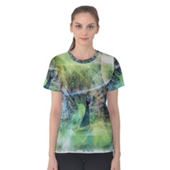 Digitally Painted Abstract Style Watercolour Painting Of A Peacock Women s Cotton Tee