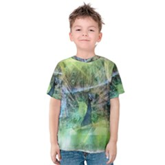 Digitally Painted Abstract Style Watercolour Painting Of A Peacock Kids  Cotton Tee