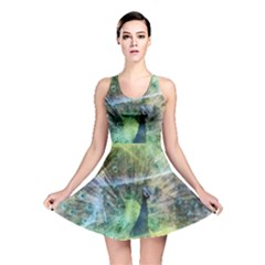 Digitally Painted Abstract Style Watercolour Painting Of A Peacock Reversible Skater Dress