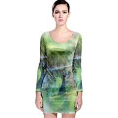 Digitally Painted Abstract Style Watercolour Painting Of A Peacock Long Sleeve Bodycon Dress