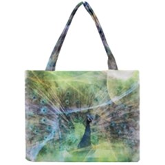 Digitally Painted Abstract Style Watercolour Painting Of A Peacock Mini Tote Bag