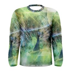 Digitally Painted Abstract Style Watercolour Painting Of A Peacock Men s Long Sleeve Tee