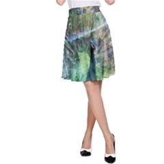 Digitally Painted Abstract Style Watercolour Painting Of A Peacock A-Line Skirt