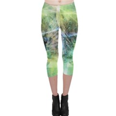 Digitally Painted Abstract Style Watercolour Painting Of A Peacock Capri Leggings