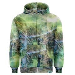 Digitally Painted Abstract Style Watercolour Painting Of A Peacock Men s Zipper Hoodie